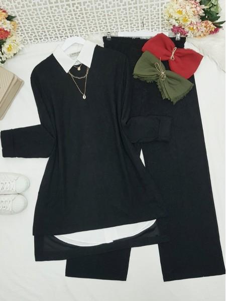 Folded Sleeves Short Front Velvet Suit -Black