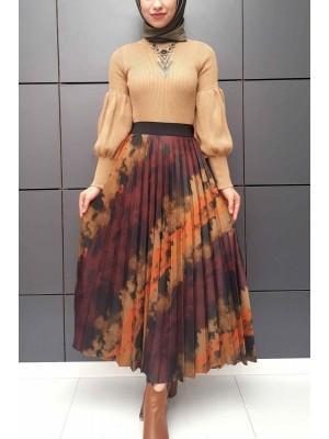 Pleated Digital Print Skirt -Snuff