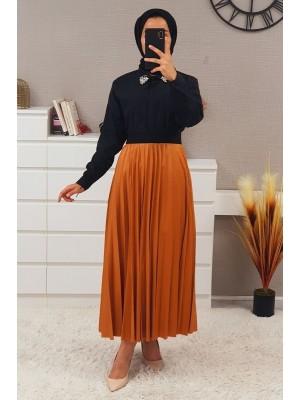 Elastic Waist Pleated Skirt -Cinnamon