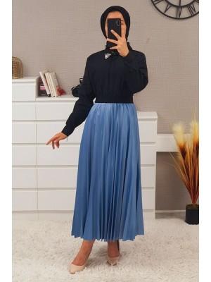 Elastic Waist Pleated Skirt -Blue