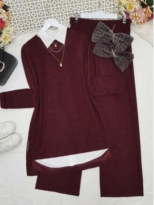 Folded Sleeves Short Front Velvet Suit -Maroon