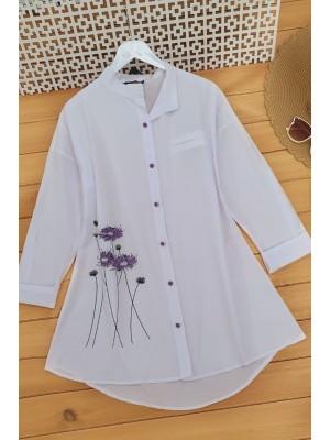 Floral Printed Judge Collar Shirt -White