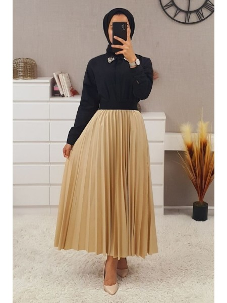 Elastic Waist Pleated Skirt - Beige