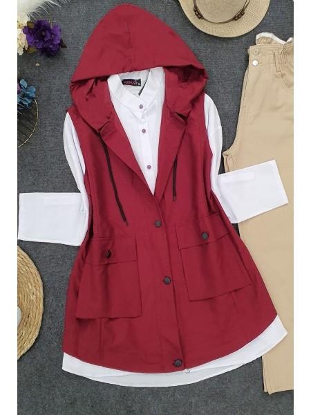 Pocket Hooded Vest -Maroon
