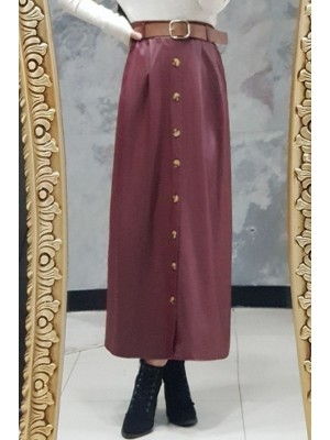 Buttoned Leather Skirt -Maroon