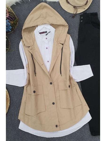 Pocket Hooded Vest - Beige