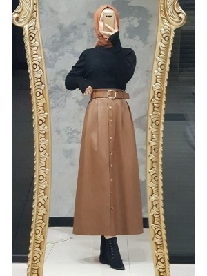Buttoned Leather Skirt -Snuff