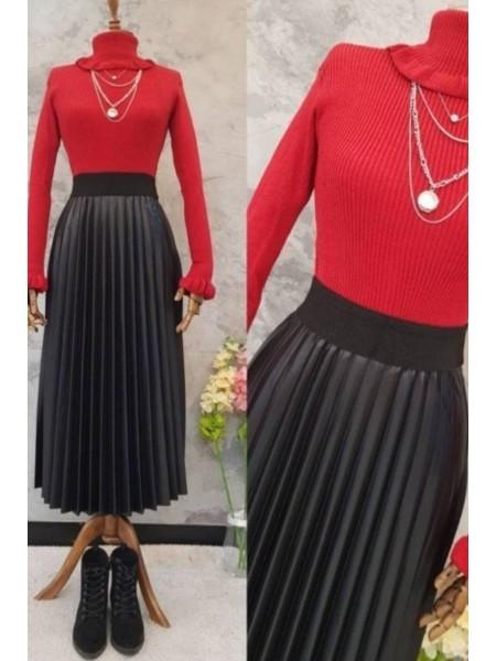 Ruffle Detail Sweater -Red