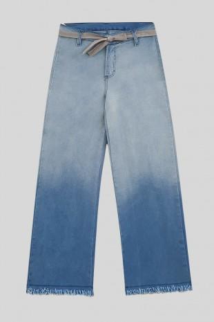 Paçası Püsküllü Kot Pantolon -Mavi