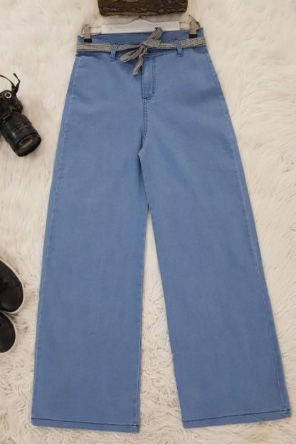 Likralı Salaş Pantolon -Mavi