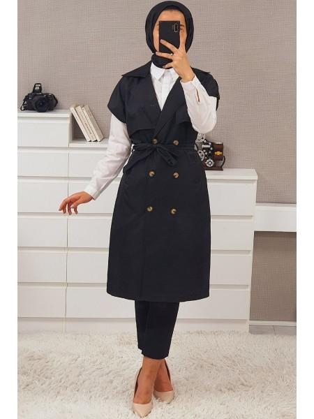 Buttoned Belt Vest -Black