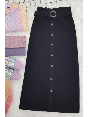 Buttoned Long Denim Skirt -Black