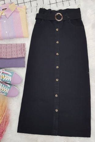 Boydan Düğmeli Tokalı Kot Etek -Siyah
