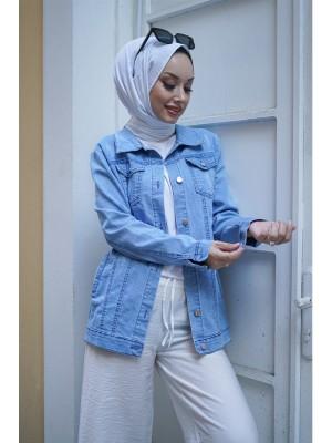Pocket Buttoned Short Denim Jacket -Light blue