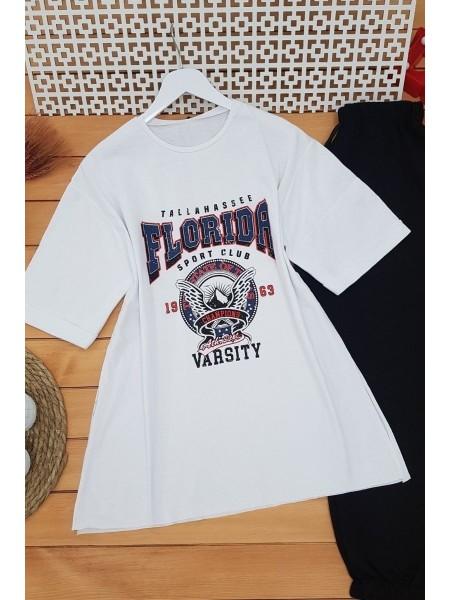 Crew Neck Sleeve Fold Florida Sweat -White