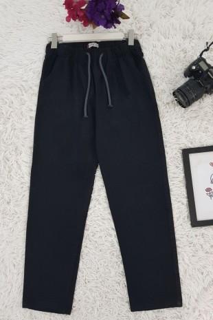 Beli Bağcıklı Kot Pantolon -Siyah