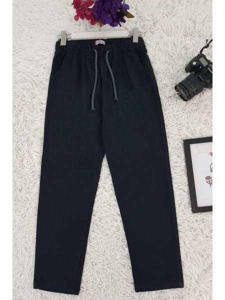 Lace-Up Waist Jeans -Black