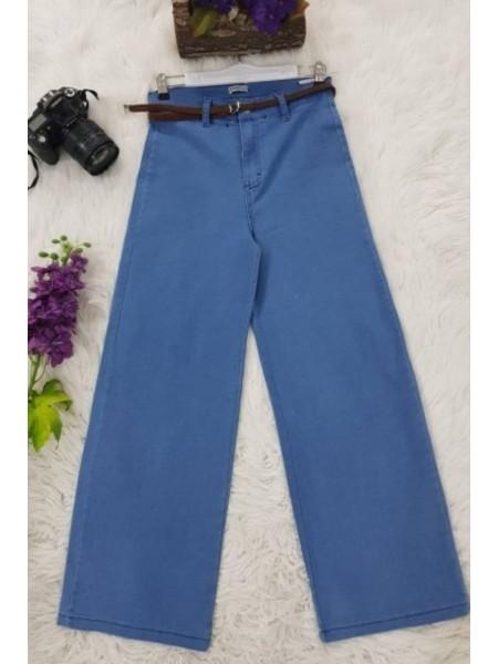 Straw Belt Lycra Trousers -Blue