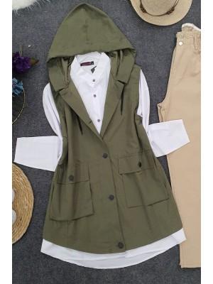 Pocket Hooded Vest -Khaki
