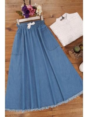 Fringed Skirt With Pockets Denim Skirt -Blue