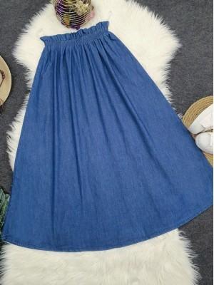 Elastic Waist Long Skirt -İndigo