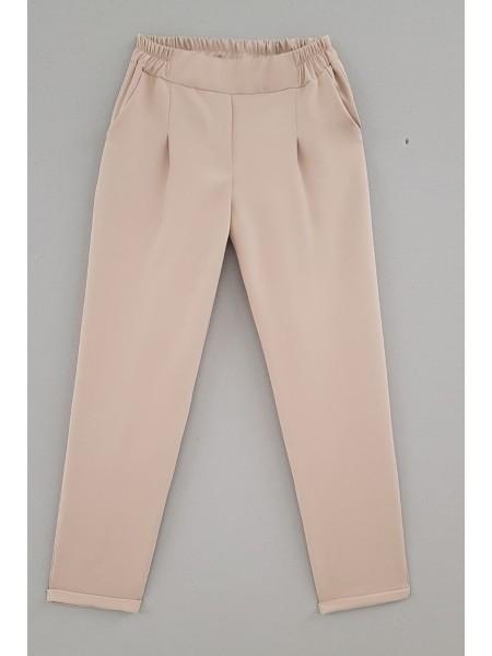 Duble Paça Beli Lastikli Pantolon - Beige