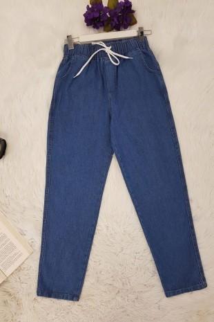 Beli Bağcıklı Kot Pantolon -Mavi