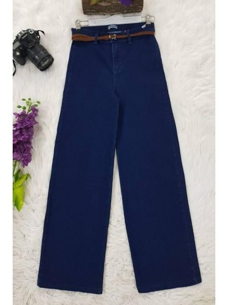 Straw Belt Lycra Trousers -Navy blue