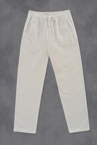 Beli Bağcıklı Kot Pantolon   -Beyaz