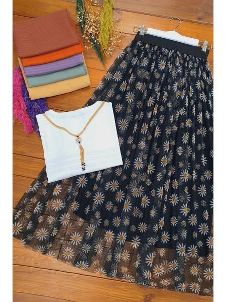 Elastic Waist Tulle Skirt -Black