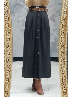 Buttoned Leather Skirt -Black