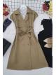 Buttoned Belt Vest -Mink color