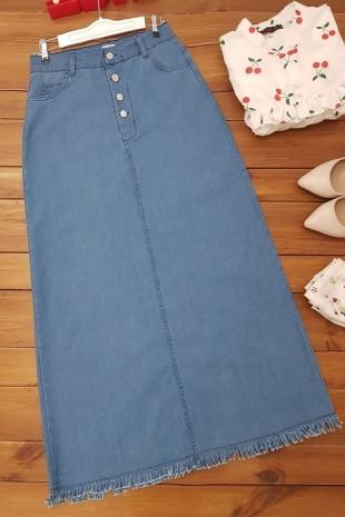 Eteği Püsküllü Uzun Kot Etek -Mavi
