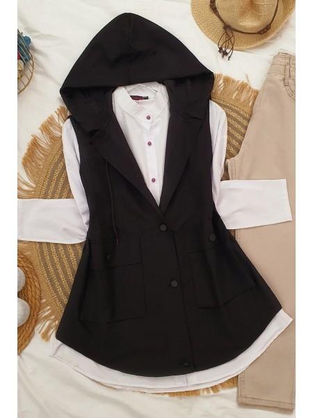 Pocket Hooded Vest -Black