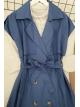 Buttoned Belt Vest -İndigo
