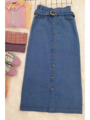 Buttoned Long Denim Skirt -Blue