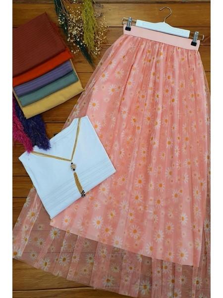 Elastic Waist Tulle Skirt -Powder