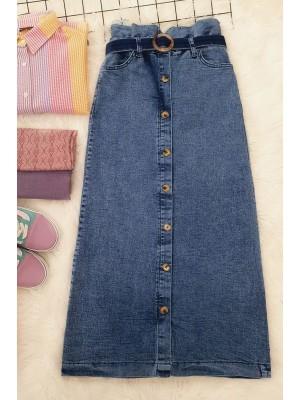 Buttoned Long Denim Skirt -Ice Blue