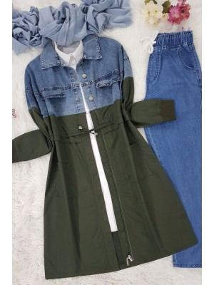 Denim Piece Trench Coat -Khaki