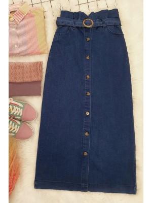 Buttoned Long Denim Skirt -İndigo