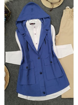 Pocket Hooded Vest -İndigo