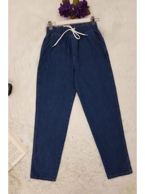 Lace-Up Waist Jeans -İndigo
