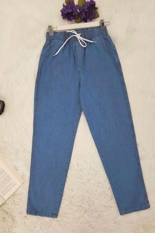 Beli Bağcıklı Kot Pantolon  -Buz Mavi
