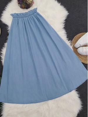 Elastic Waist Long Skirt -Light blue