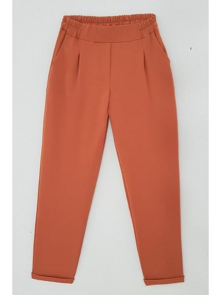 Duble Paça Beli Lastikli Pantolon -Snuff