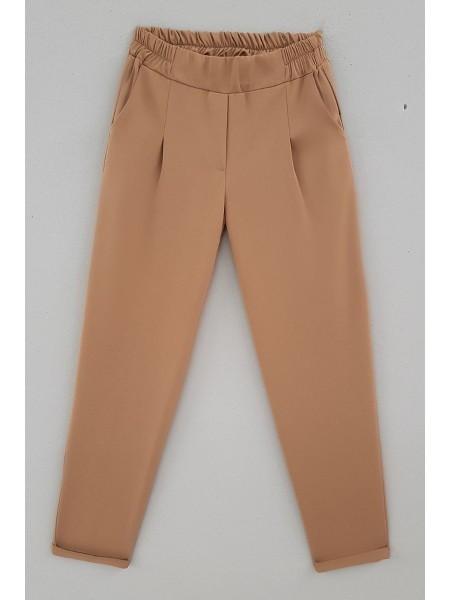 Duble Paça Beli Lastikli Pantolon -Mink color