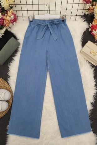 Paçası Püsküllü Kot Pantolon -Açık Mavi